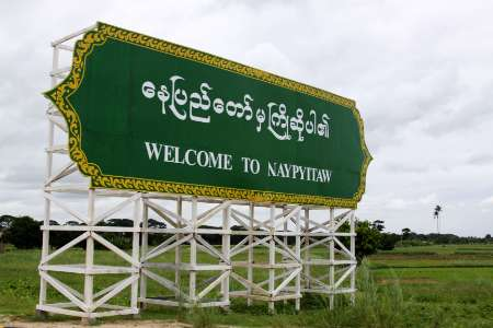 A sign welcomes visitors to Myanmar's isolated new capital, Naypyidaw July 4, 2009-1