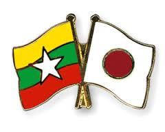 Myanmar Japan Flag