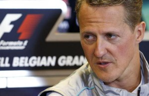 Mercedes Formula One driver Schumacher of Germany addresses a news conference ahead of the weekend's Belgian F1 Grand Prix in Spa Francorchamps