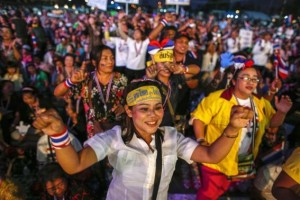 Anti-government protesters dance during a rally at Government complex in Bangkok