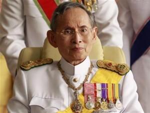 Thailand's King Bhumibol Adulyadej leaves the Siriraj Hospital for a ceremony at the Grand Palace in Bangkok