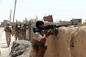 Kurdish Peshmerga forces sweep the Bakirta village near the town of Makhmur