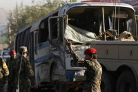 Afghan National Army soldiers (ANA) arrive at the site of a suicide bomb attack in Kabul