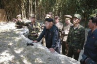 North Korean leader Kim Jong Un inspects a civil police post and a post of the third company of the second battalion in this undated photo released by KCNA in Pyongyang