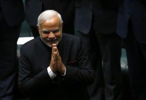 India's Prime Minister Modi enters the House of Representatives to make a speech in Australia's Parliament House in Canberra