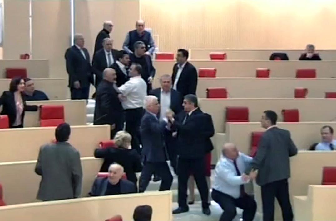 Georgian politicians brawl in parliament