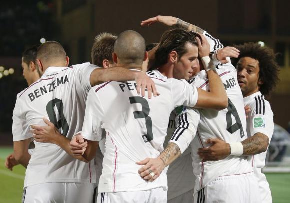 Sergio Ramos of Spain's Real Madrid celebrates with his teammates after scoring against Mexico's Cruz Azul during their semi-final soccer match in FIFA Club World Cup at Marrakech stadium