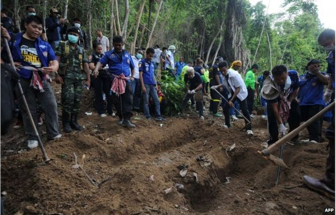 Mass graves and bodies have been found since last week in the southern Thai province of Songkhla