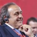 UEFA President Platini smiles before the preliminary draw for the 2018 FIFA World Cup at Konstantin Palace in St. Petersburg