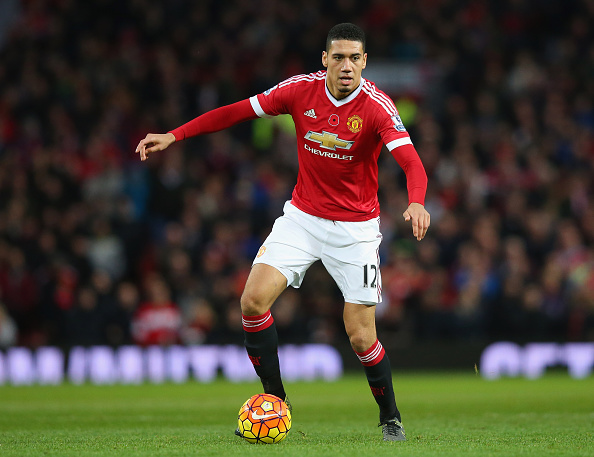 MANCHESTER, ENGLAND - NOVEMBER 07:  Chris Smalling of Manchester United during the Barclays Premier League match between Manchester United and West Bromwich Albion at Old Trafford on November 7, 2015 in Manchester, England.  (Photo by Alex Livesey/Getty Images)