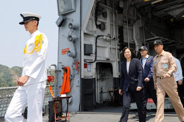 Taiwanese President Tsai Ing-wen walks on board the Kee Lung (DDG-1801) destroyer during a drill near Yilan naval base, Taiwan