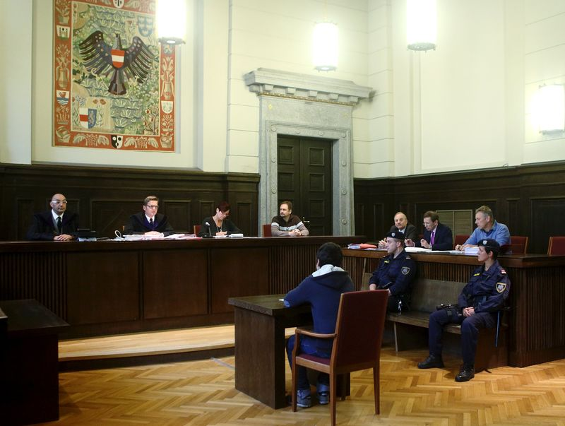 A general view of the courtroom is seen during the trial of a 14-year-old terror suspect in St. Poelten